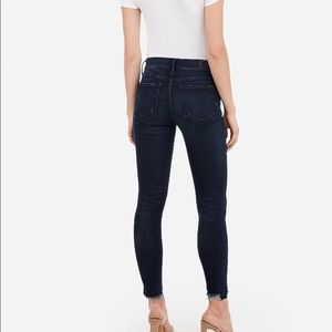 Express Jeans - Mid rise denim perfect raw hem jeans with stretch
